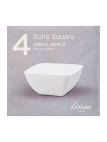 Linea Soho square cereal bowl set of 4