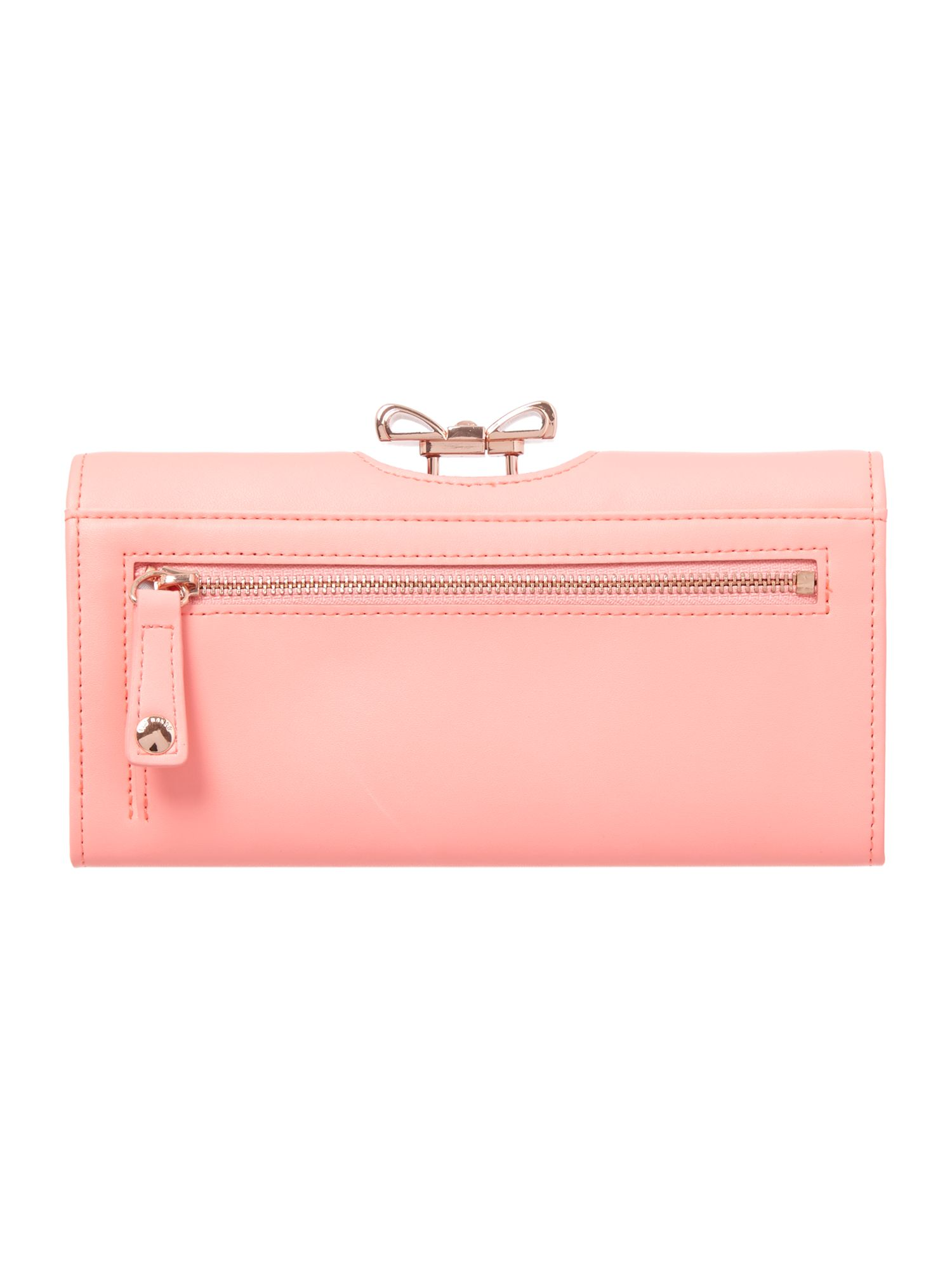Coral crystal bow leather matinee purse