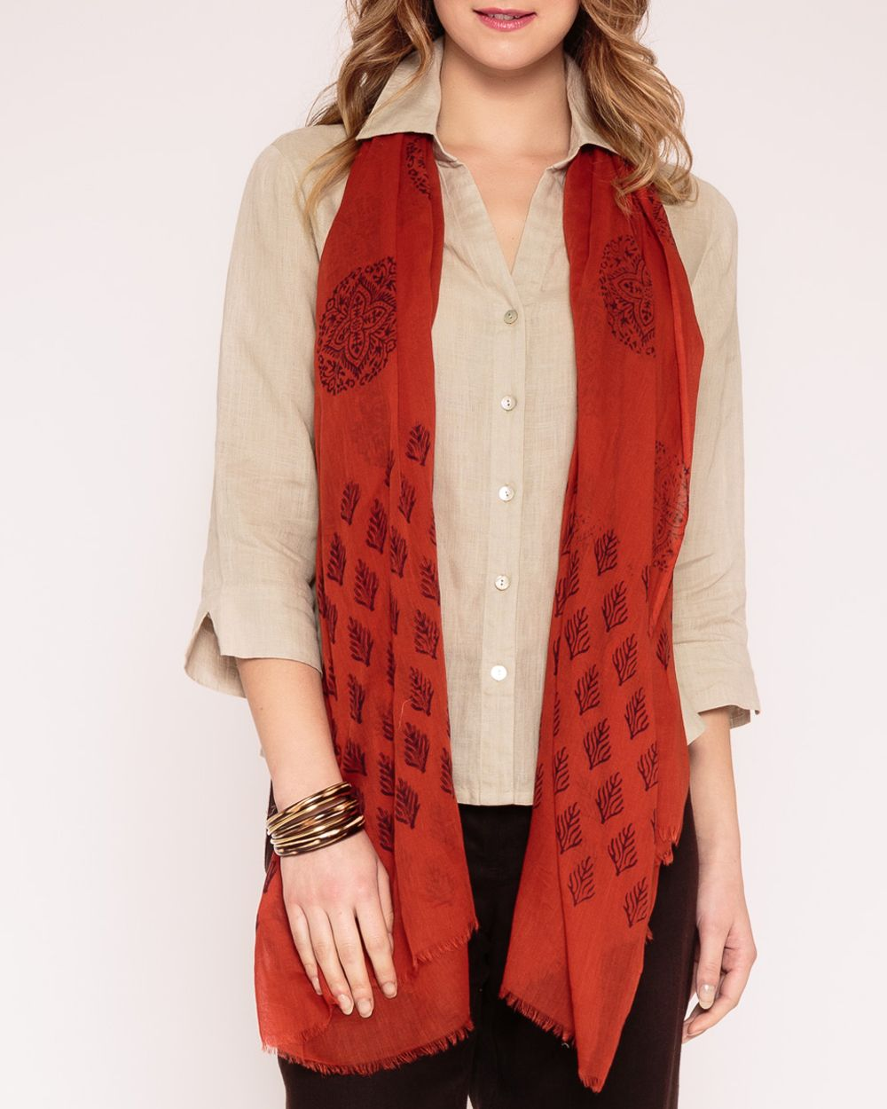 Sheer cotton booti scarf