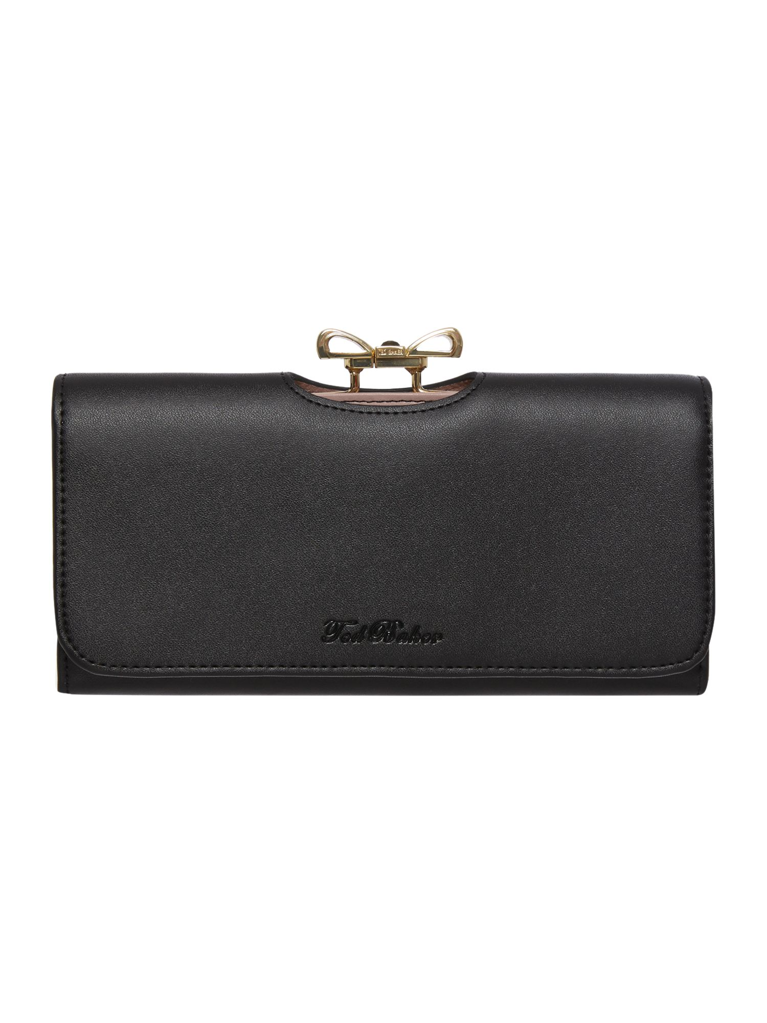 Black crystal bow leather matinee purse