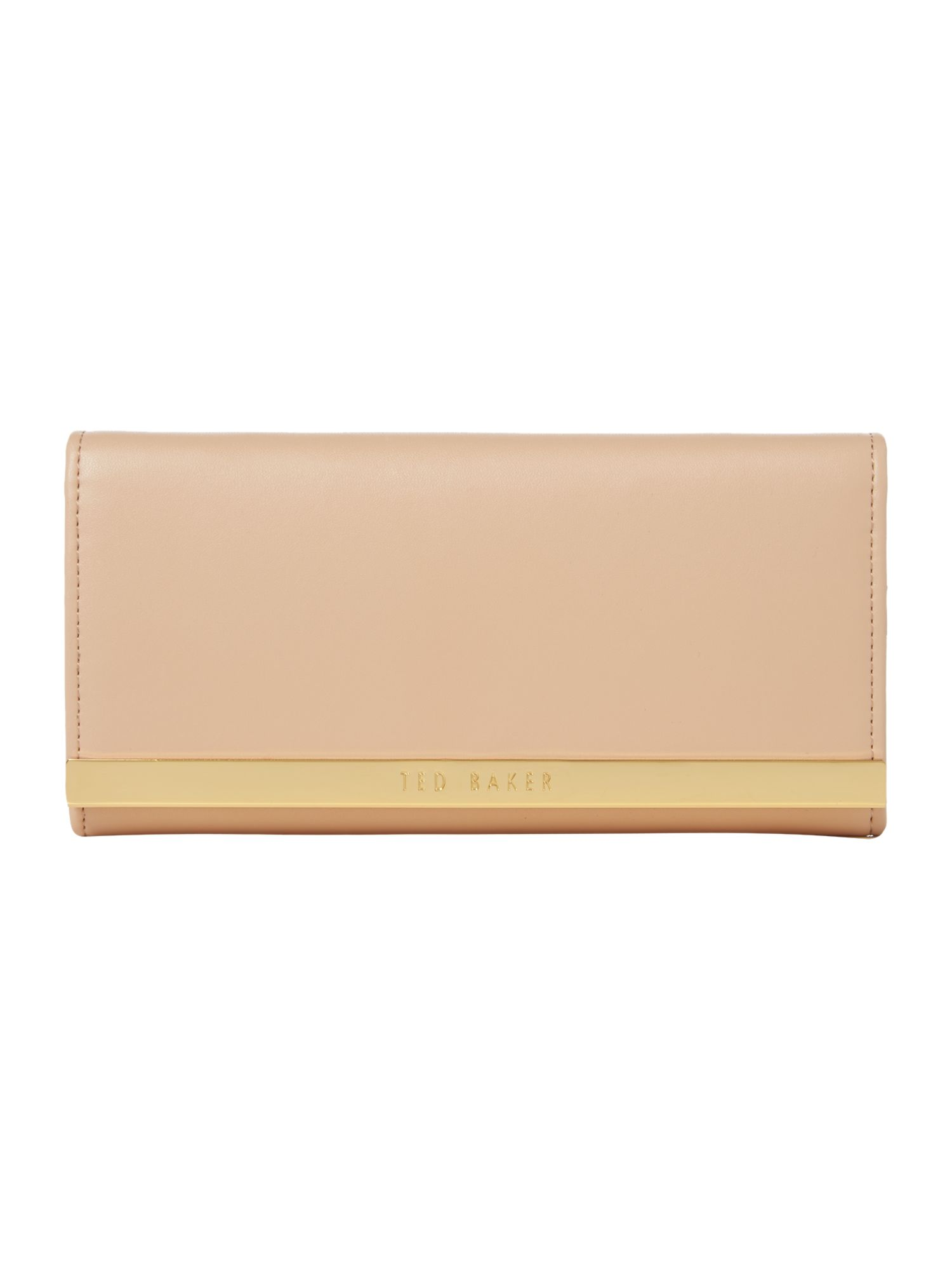 Taupe metal bar matinee flapover purse