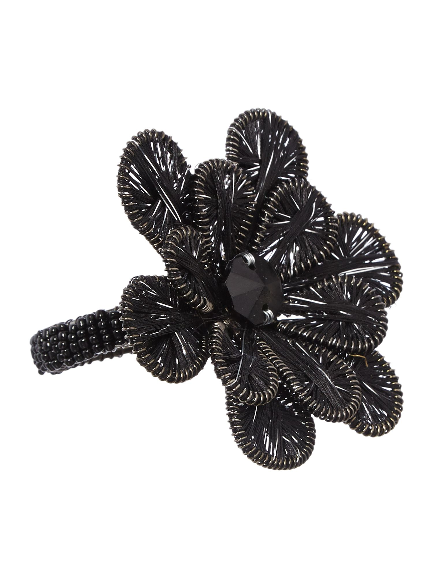 Black flower napkin ring set of 4