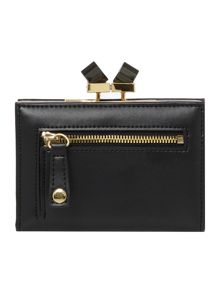 Black small crystal bow leather popper purse
