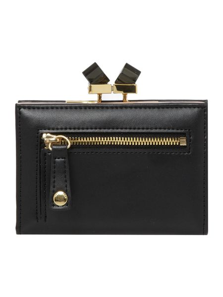 Ted Baker Black small crystal bow leather popper purse