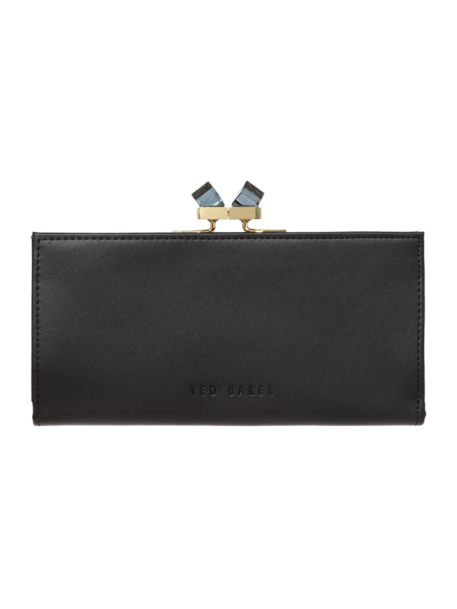 Black small crystal patent popper purse