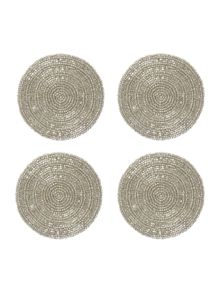 Set of 4 Silver Halo Coasters