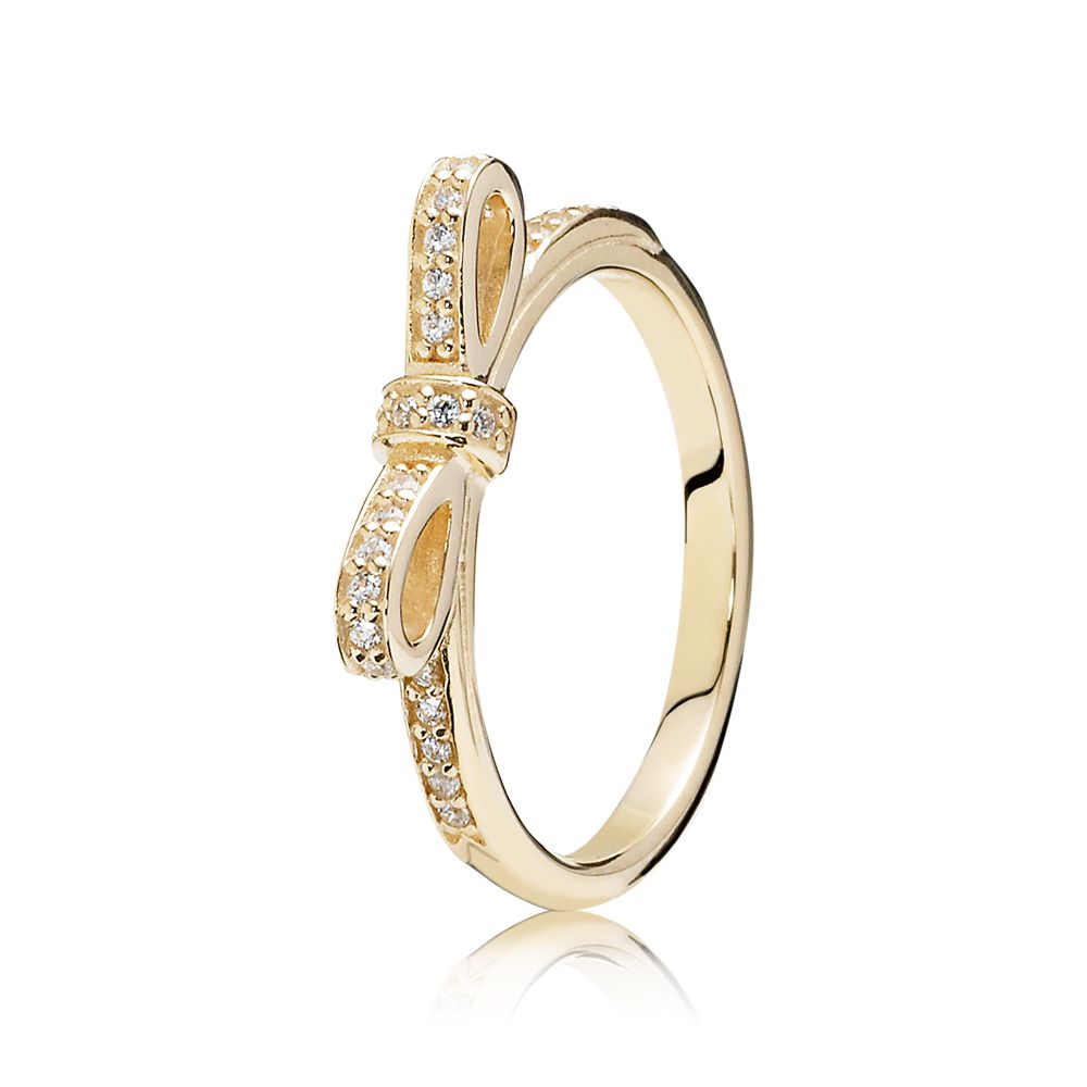 Bow cubic zirconia gold ring