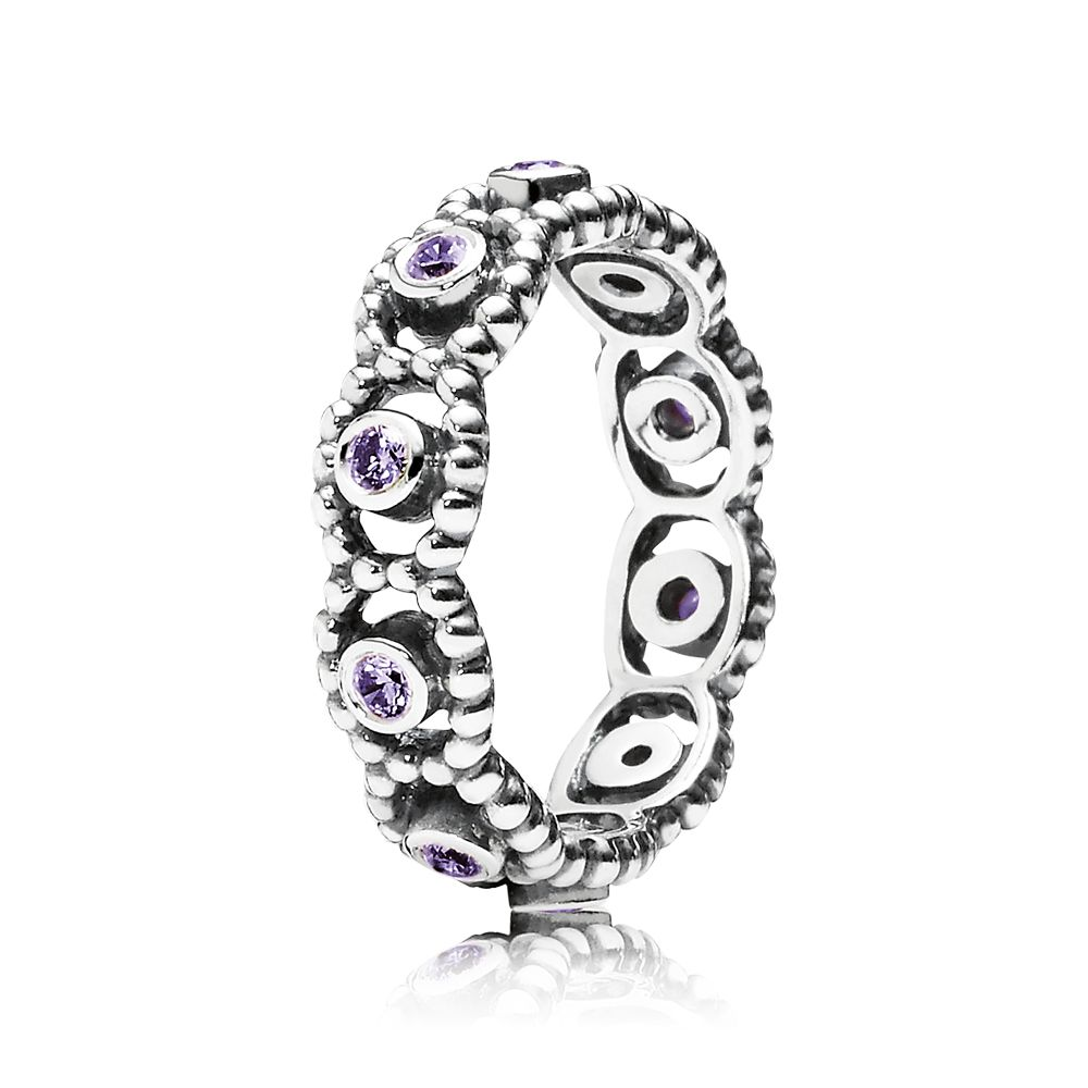 Purple cubic zirconia silver ring