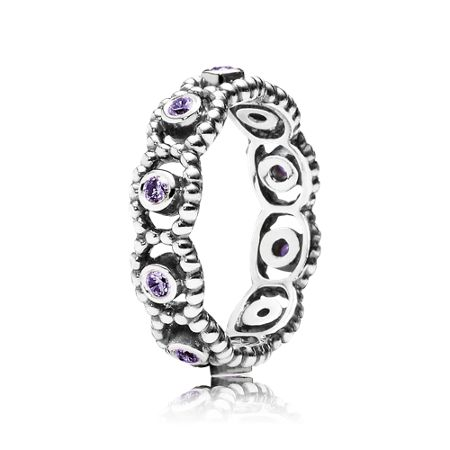 Pandora Purple cubic zirconia silver ring