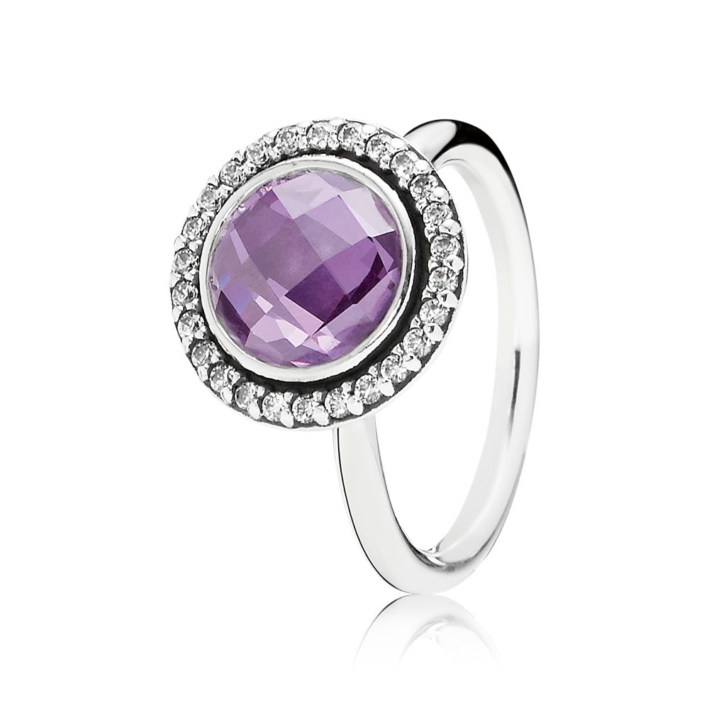 Clear and purple cubic zirconia silver ring