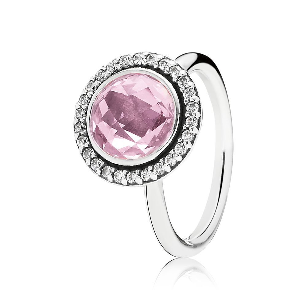 Clear and pink cubic zirconia silver ring