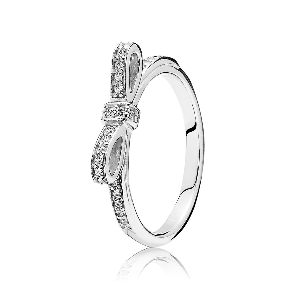 Bow cubic zirconia silver ring