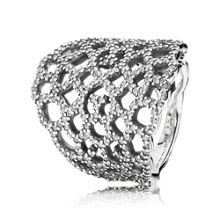 Lace cubic zirconia silver ring