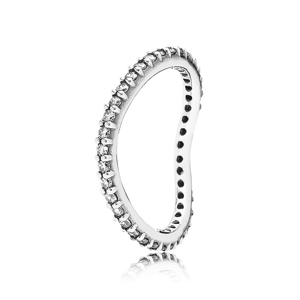 Curved cubic zirconia silver ring