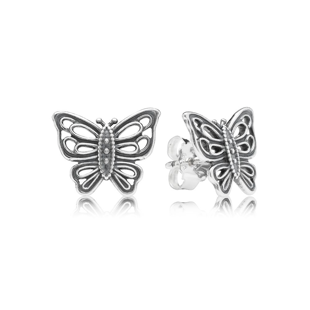 Openwork butterfly silver stud earrings
