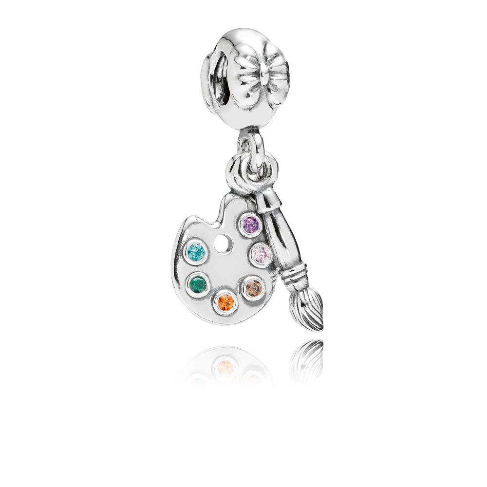 Artists palette cubic zirconia silver dangle