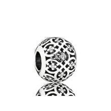 Decorative cubic zirconia silver charm