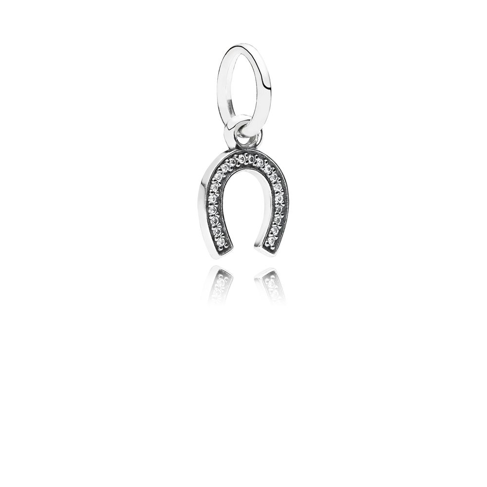 Horseshoe cubic zirconia silver dangle charm