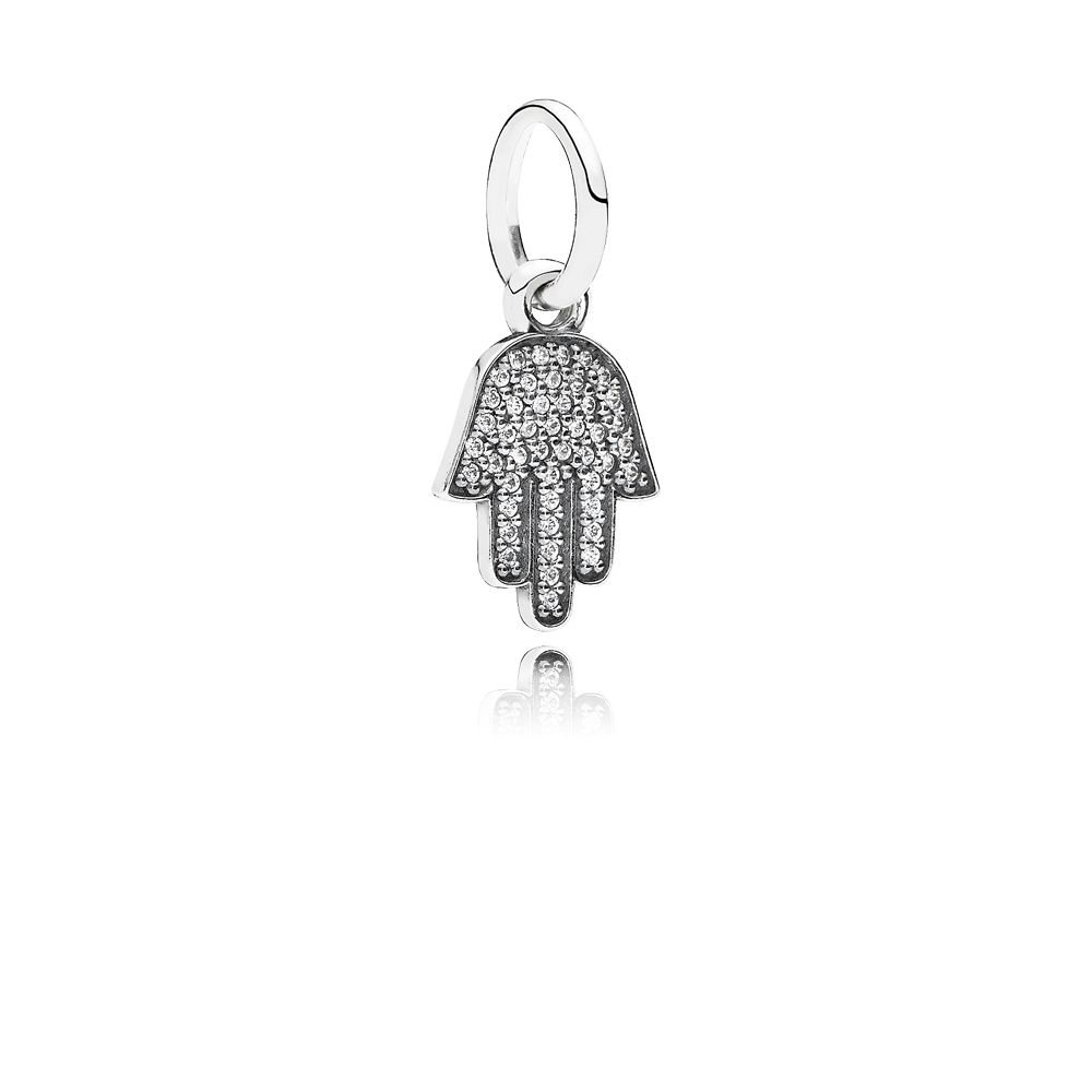 Hamsa hand cubic zirconia silver dangle charm