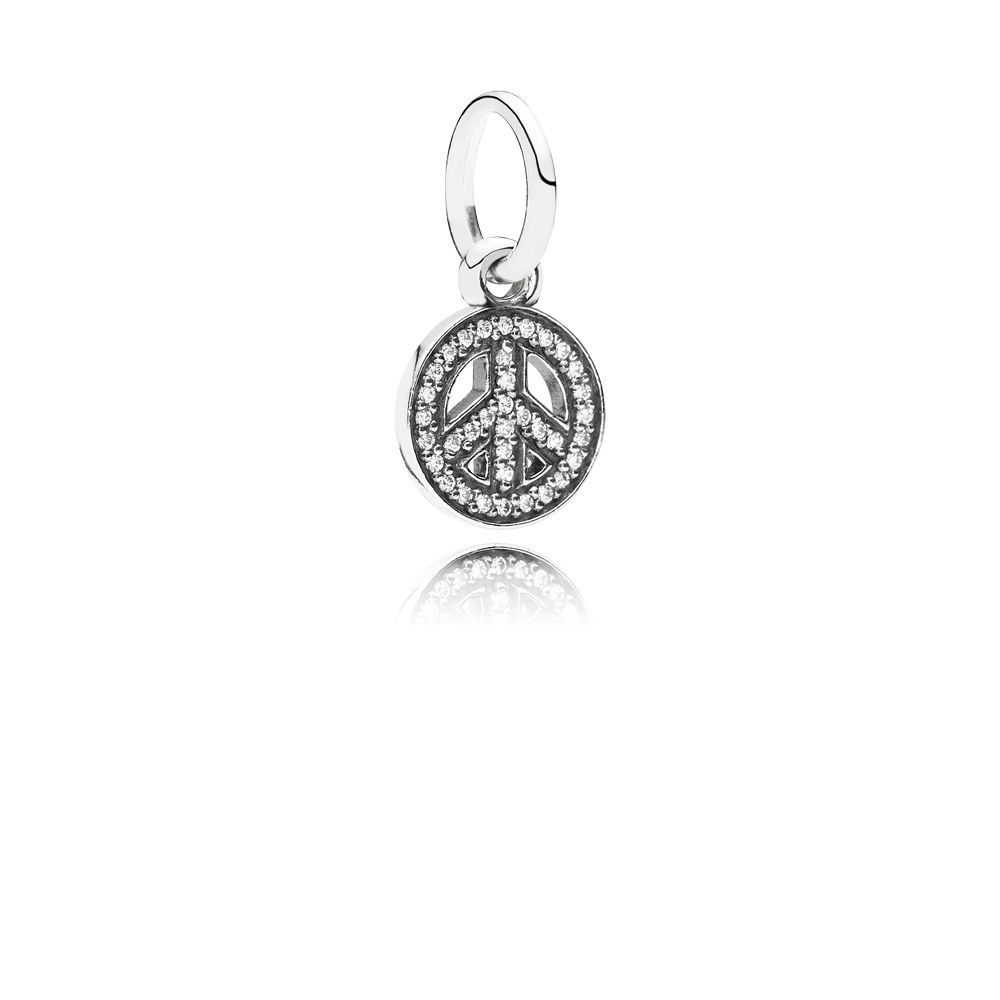Peace sign cubic zirconia silver dangle charm