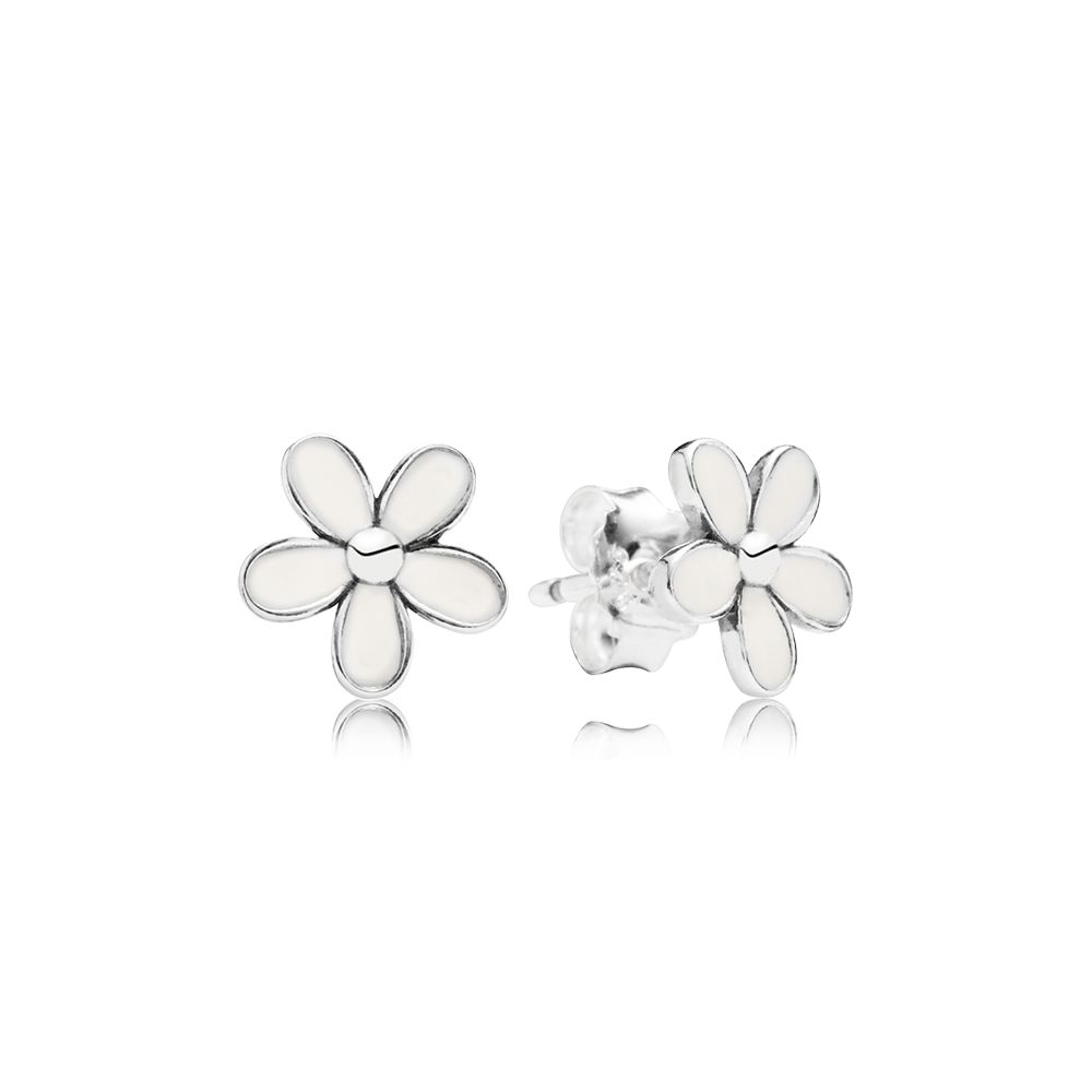 Daisies white enamel silver stud earrings