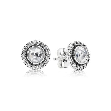 Pandora Cubic zirconia silver stud earrings