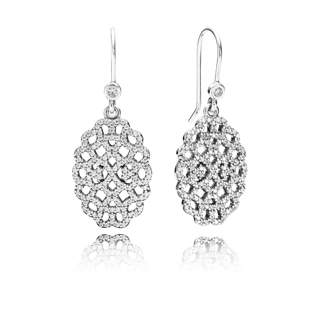 Lace cubic zirconia silver earrings