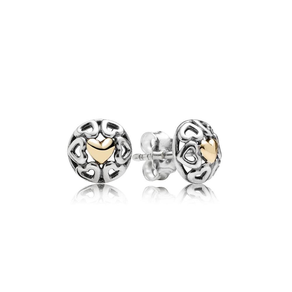 Openwork 14k hearts silver stud earrings
