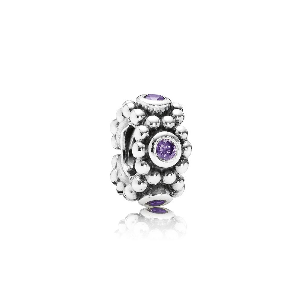 Abstract purple cubic zirconia silver spacer