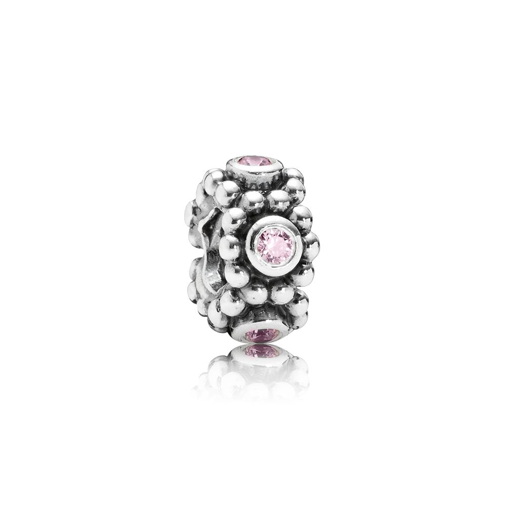 Abstract pink cubic zirconia silver spacer