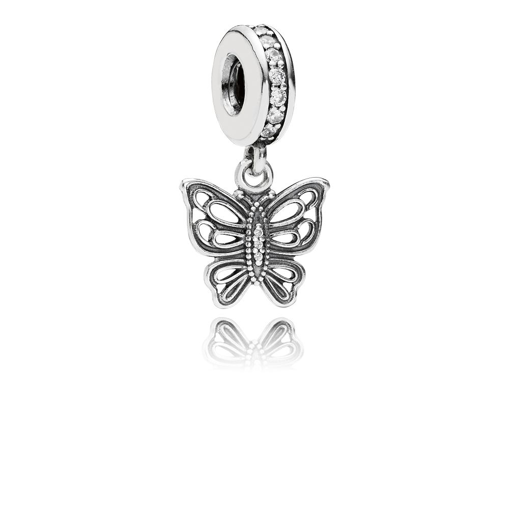 Openwork butterfly silver dangle charm