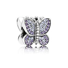 Pave butterfly cubic zirconia silver charm