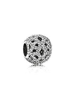 Lace cubic zirconia silver charm