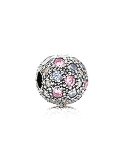 Abstract multi cubic zirconia silver clip