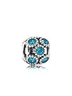 Abstract openwork cubic zirconia silver charm