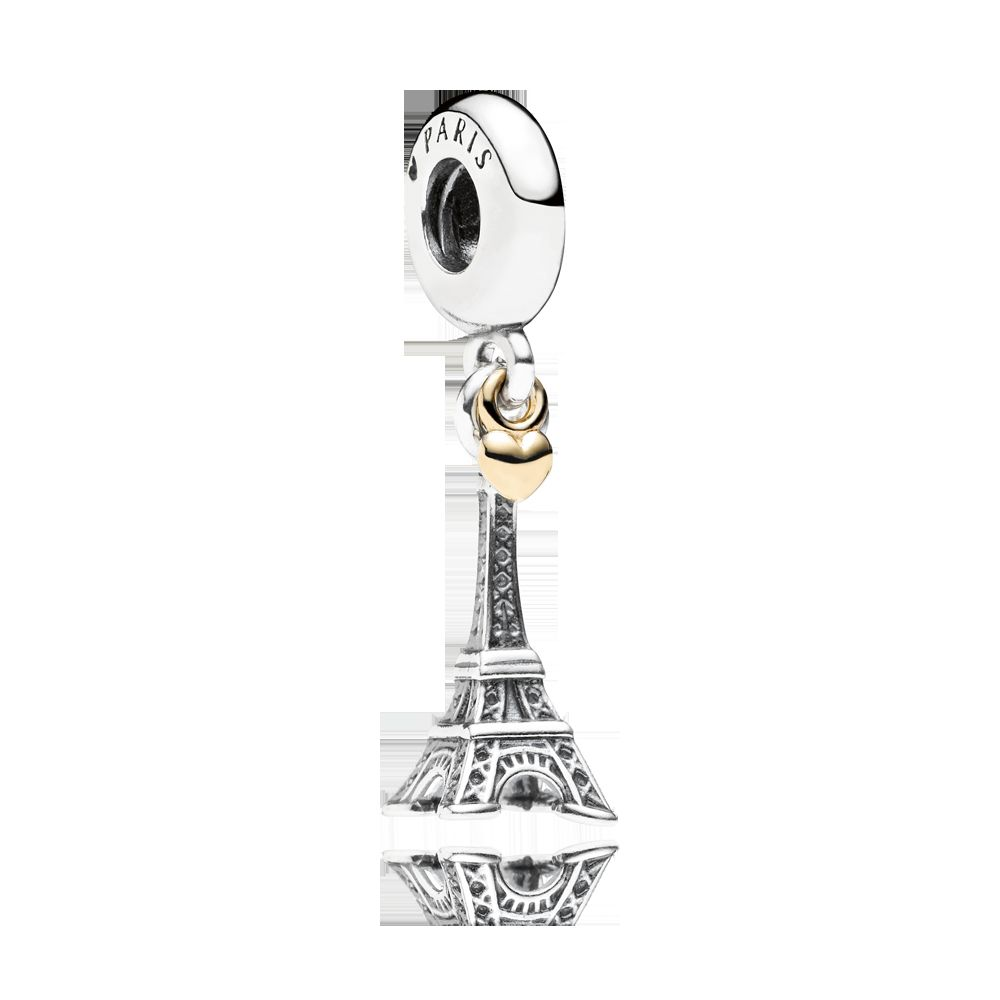 Eiffel tower 14k silver dangle charm