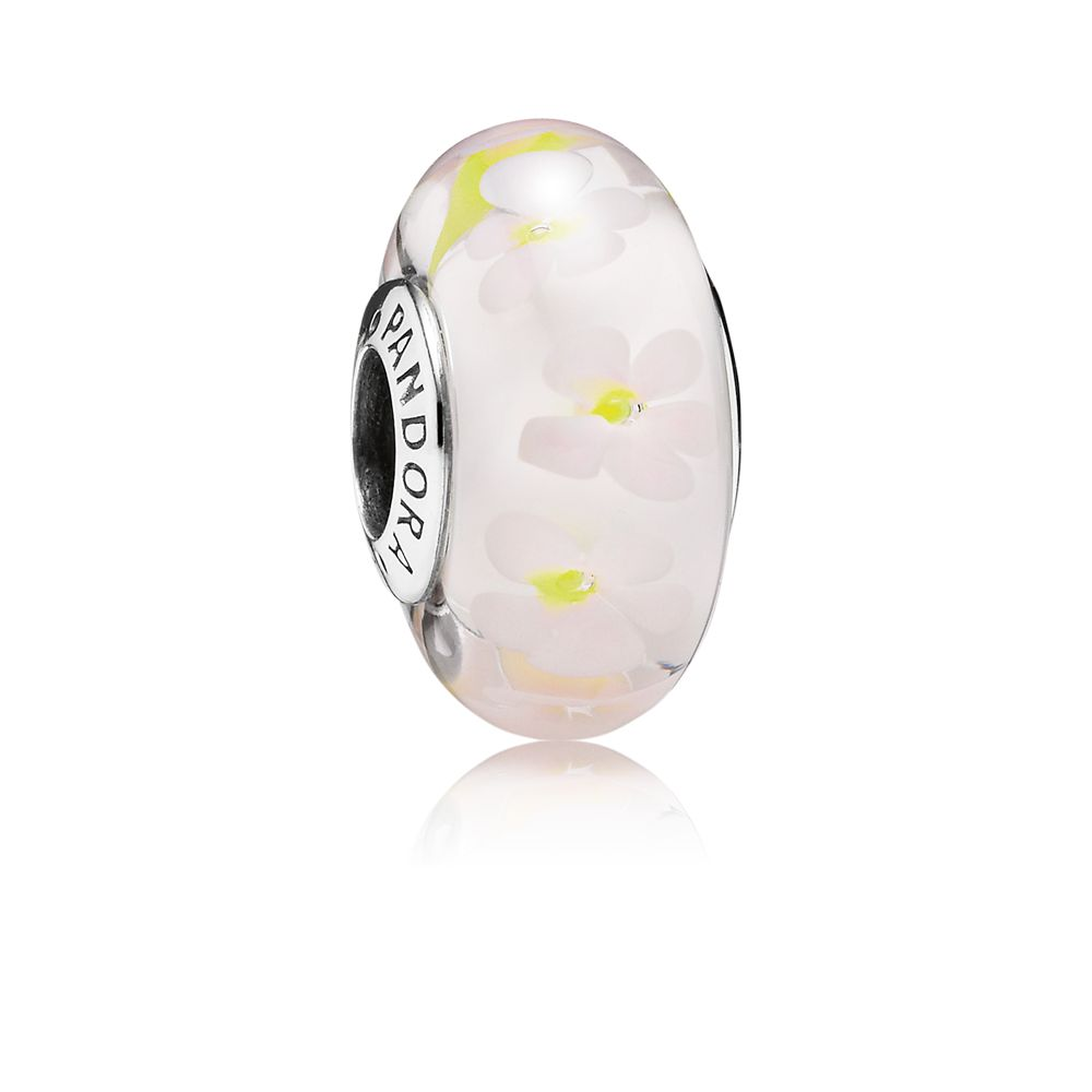 Daisies pink and white murano glass silver charm