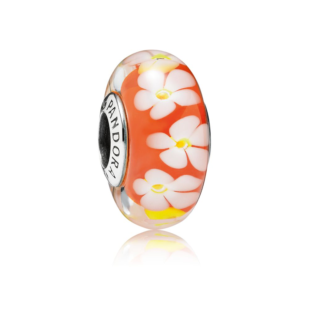 Tropical flowers murano glass silver charm
