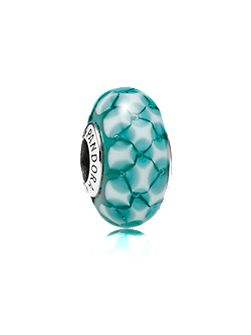 Decorative teal murano glass silver charm