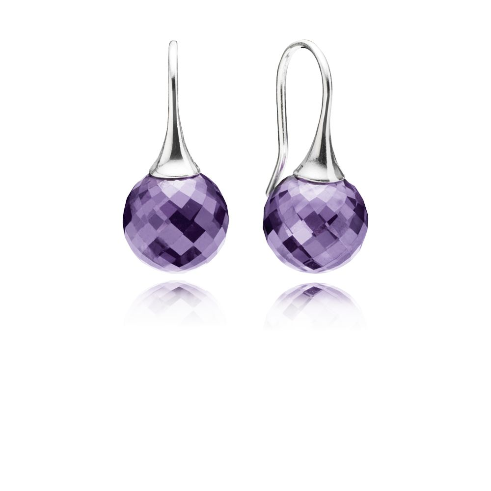Faceted purple cubic zirconia silver earrings