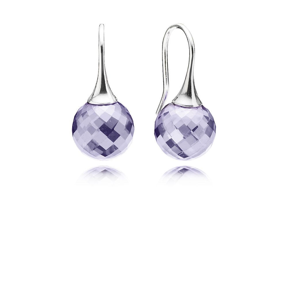 Faceted lavender cubic zirconia silver earrings