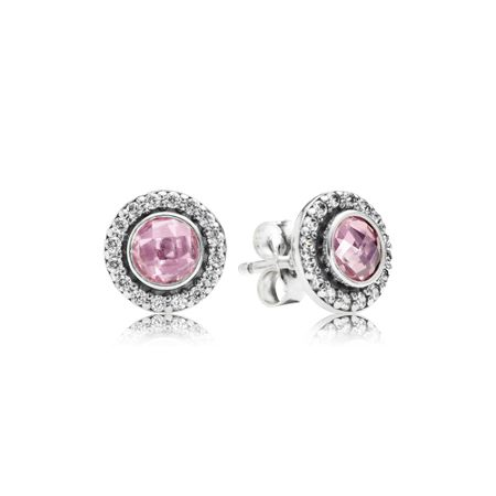 Pandora Clear pink cubic zirconia silver stud earrings