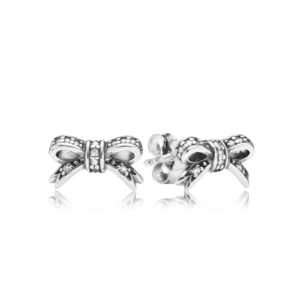Bow cubic zirconia silver stud earrings