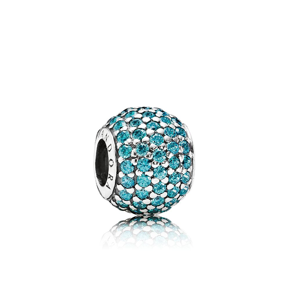 Abstract pave teal cubic zirconia silver charm