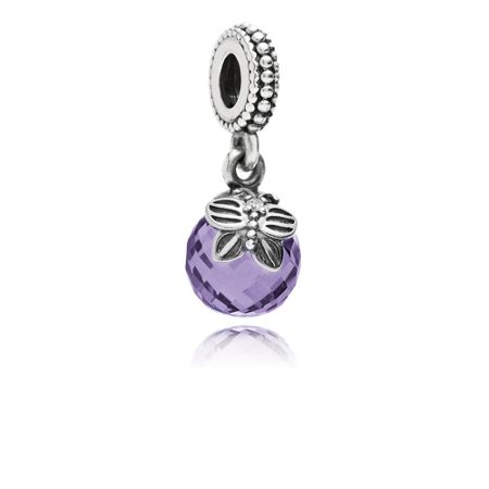 Pandora Faceted butterfly detail silver dangle charm