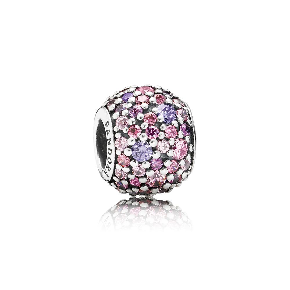 Pave pink and purple cubic zirconia silver charm