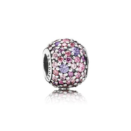 Pandora Pave pink and purple cubic zirconia silver charm