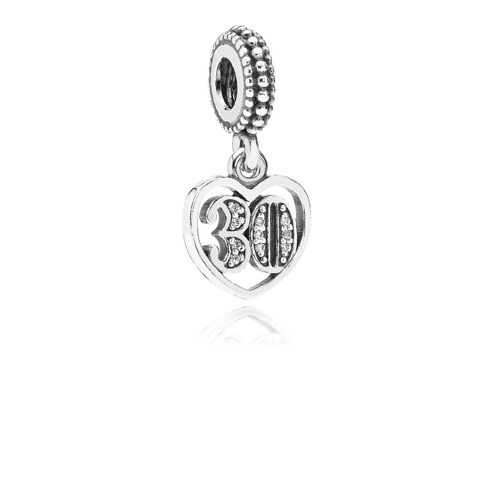 30 cubic zirconia silver dangle charm