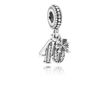 Pandora 40 cubic zirconia silver dangle charm