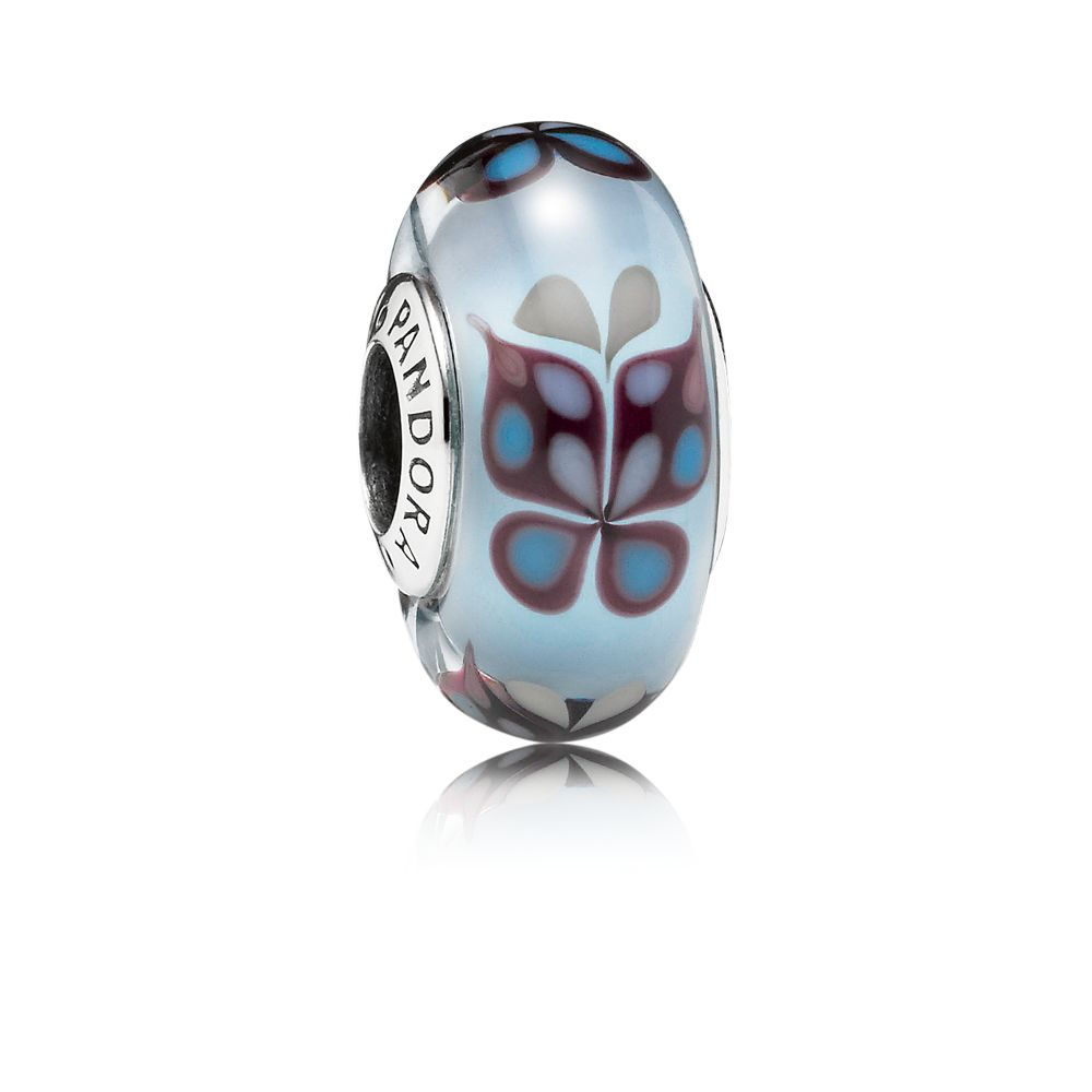 Butterfly blue Murano glass silver charm
